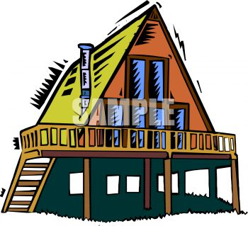 Royalty Free Clip Art Image  A Frame Style House On Stilts