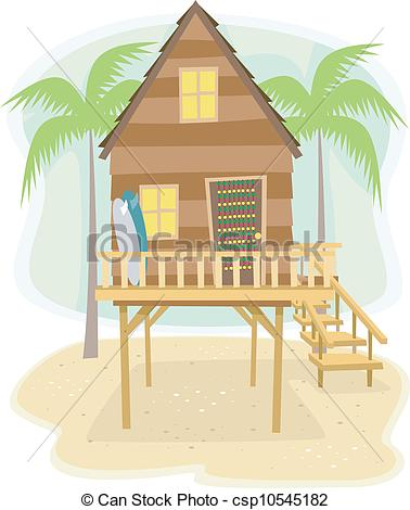 Vector Of Beach House   Illustration Of A Beach House With Surfboards