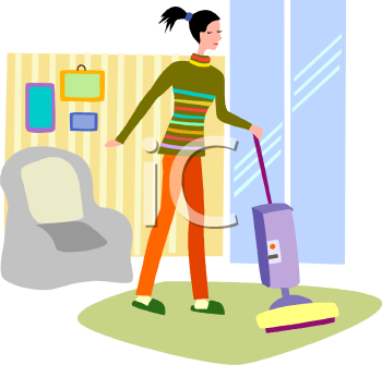Young Woman Cleaning Her Apartment   Royalty Free Clip Art Image