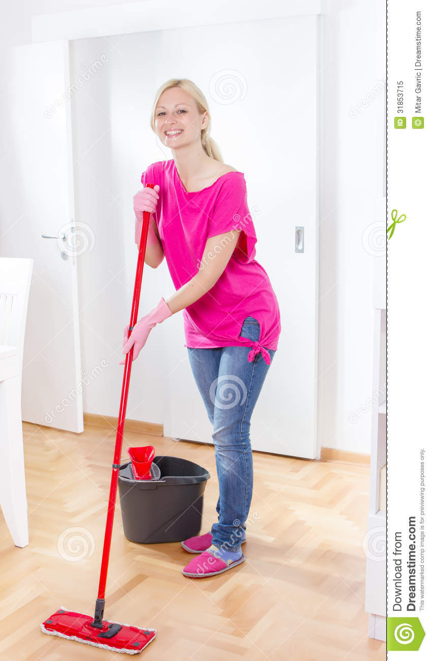 Young Woman Cleaning Home Royalty Free Stock Photo   Image  31853715