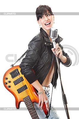 And Vektor Eps Clipart   Cliparto Girl Singing Into Microphone Clipart