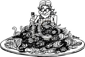 Black And White Person Eating Spaghetti   Royalty Free Clipart Picture