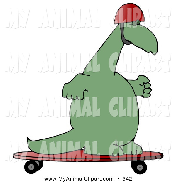 Clip Art Of A Goofy Green Dino Skateboarding Upright And Wearing A