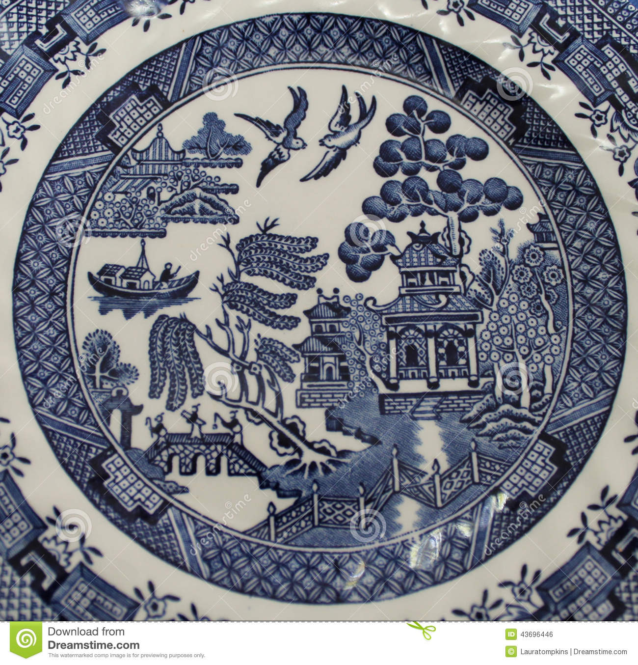 Detail Of The Old Blue Willow Pattern  This Classic Pattern Has Been