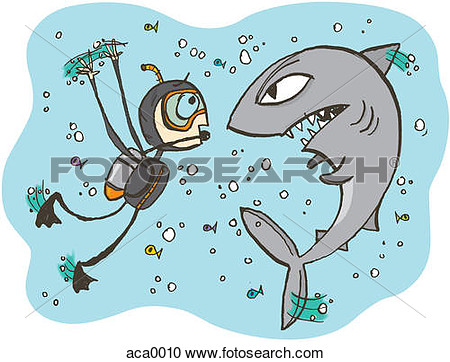 Diver Face To Face With An Angry Shark  Fotosearch   Search Clipart