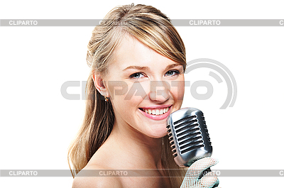 Girl Singing Into Retro Microphone   High Resolution Stock Photo   Id