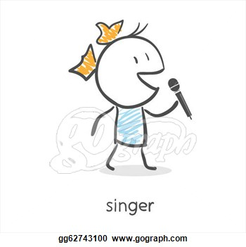 Illustration   Cartoon Girl Singing Into A Microphone  Clipart