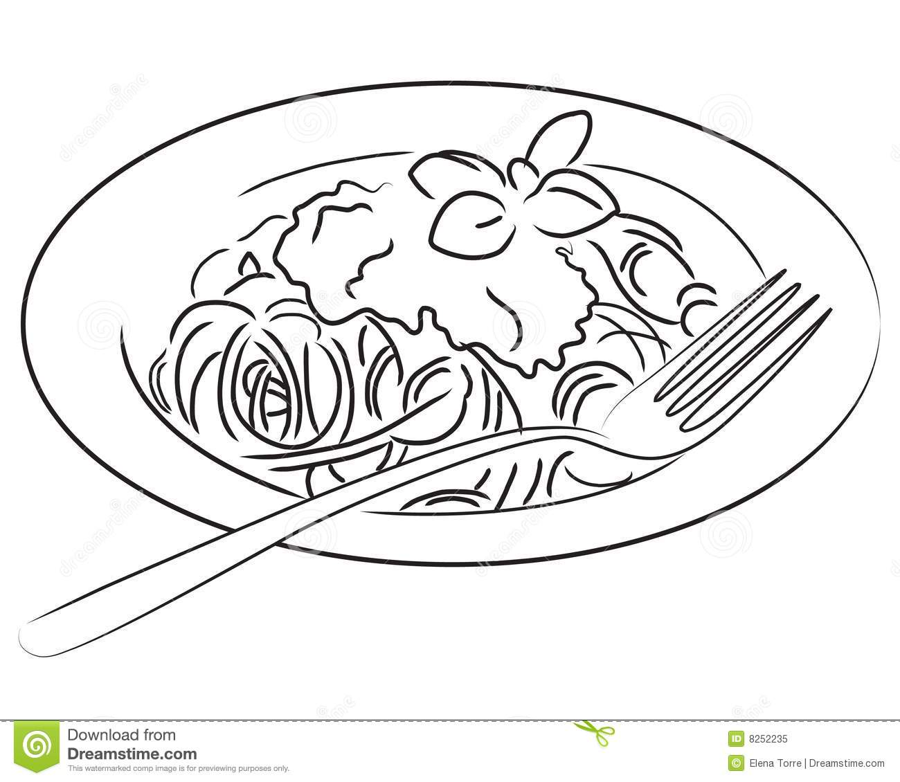 Illustration Of A Plate Of Spaghetti In Black And White  Also