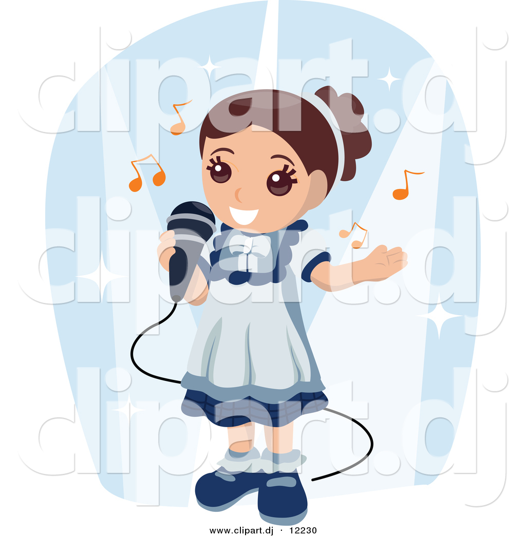 In Talent Show Royalty Free     Girl Singing Into Microphone Clipart