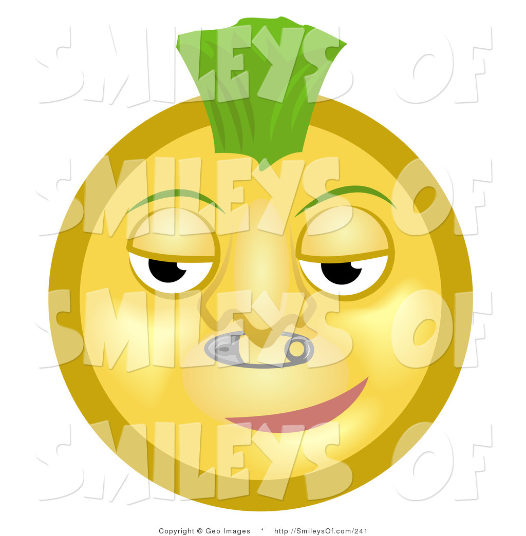 Larger Preview  Smiley Clipart Of A Cool Smug Punk Yellow Smiley Face