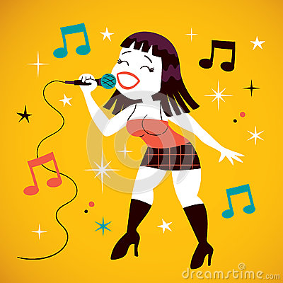 Stock Image   Image  27935156 Girl Singing Into Microphone Clipart