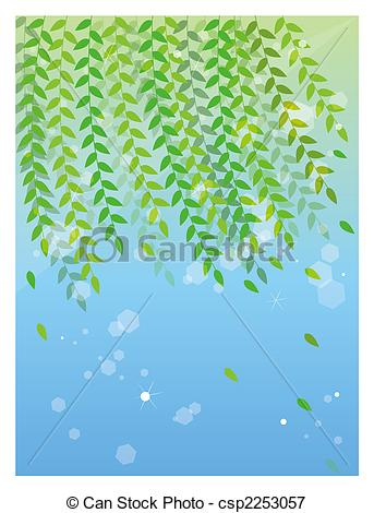 Up Of Willow Tree In A Blue Background Csp2253057   Search Eps Clipart