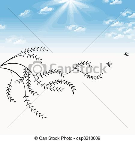 Vector   Branch Of Willow And Birds   Stock Illustration Royalty Free
