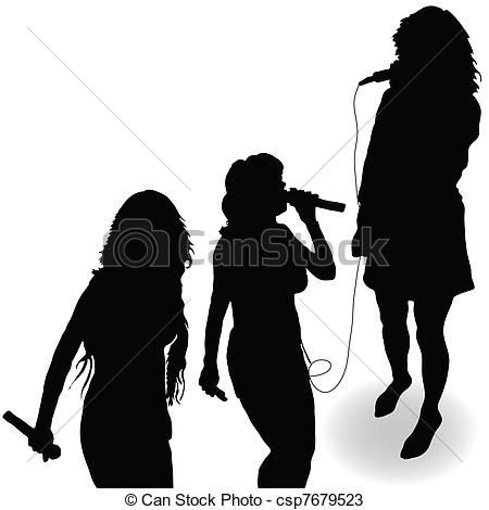 Vectors Of Singing Girl With A Microphone Black Silhouette   Singing
