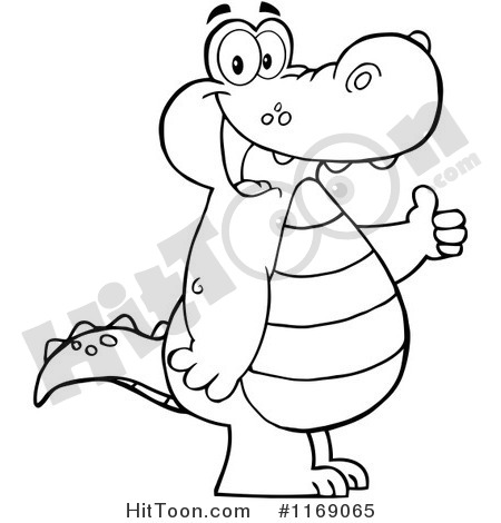 1169065 Cartoon Of A Happy Black And White Alligator Holding A Thumb