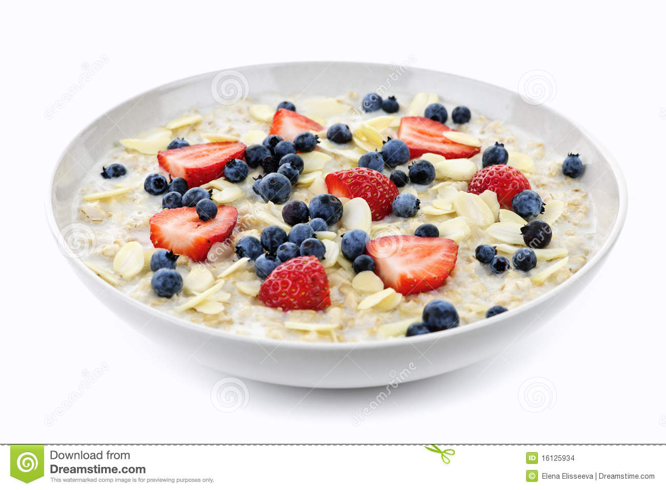 Bowl Of Oatmeal With Berries Stock Images   Image  16125934