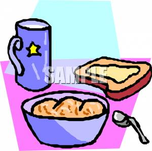 Bowl Of Oatmeal With Toast And Coffee   Royalty Free Clipart Picture
