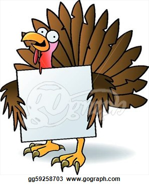 Illustration   Crazy Turkey With A Sign  Clipart Drawing Gg59258703