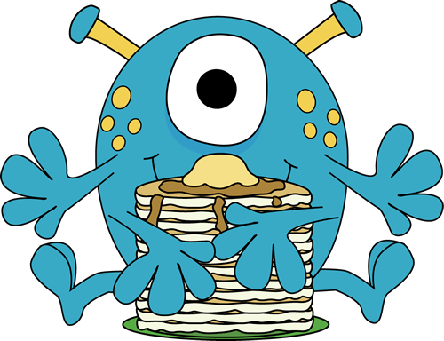 Monster Eating Pancakes Clip Art Image   Monster With Four Arms Eating