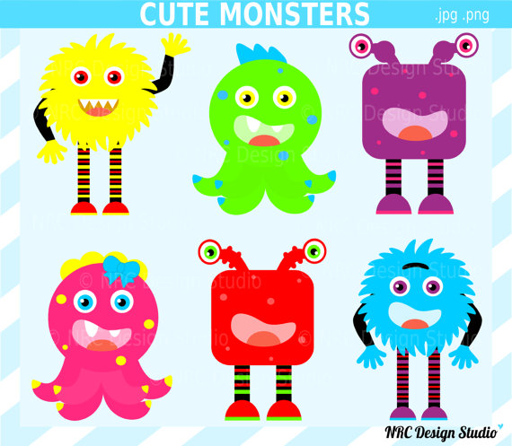 Monsters Clip Art Digital Monsters Clipart Colorful Party Girl Boy