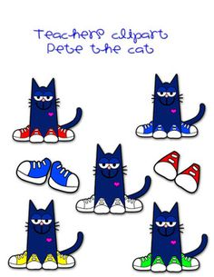 Pete The Cat Clip Art  Includes Pete In Different Colored Shoes And