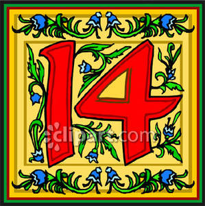 Red Number 14 With Flowers   Royalty Free Clipart Picture