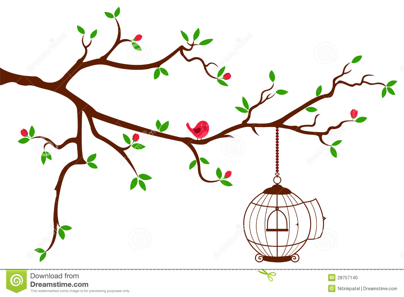 This Is A Beautiful Wall Decal Of Tree Bird Cage   Clipart