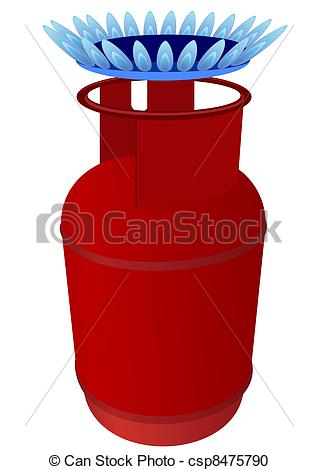 Vector Clipart Of Gas Cylinder And Burner   Household Gas Cylinder And