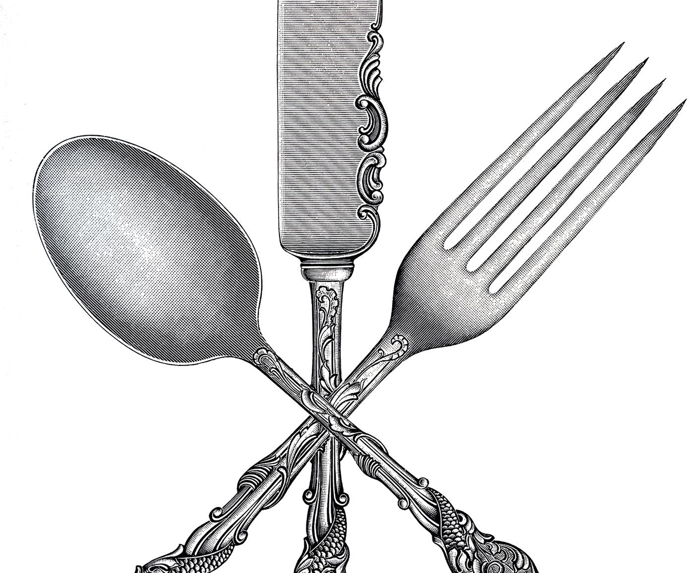 Fork clipart   Etsy