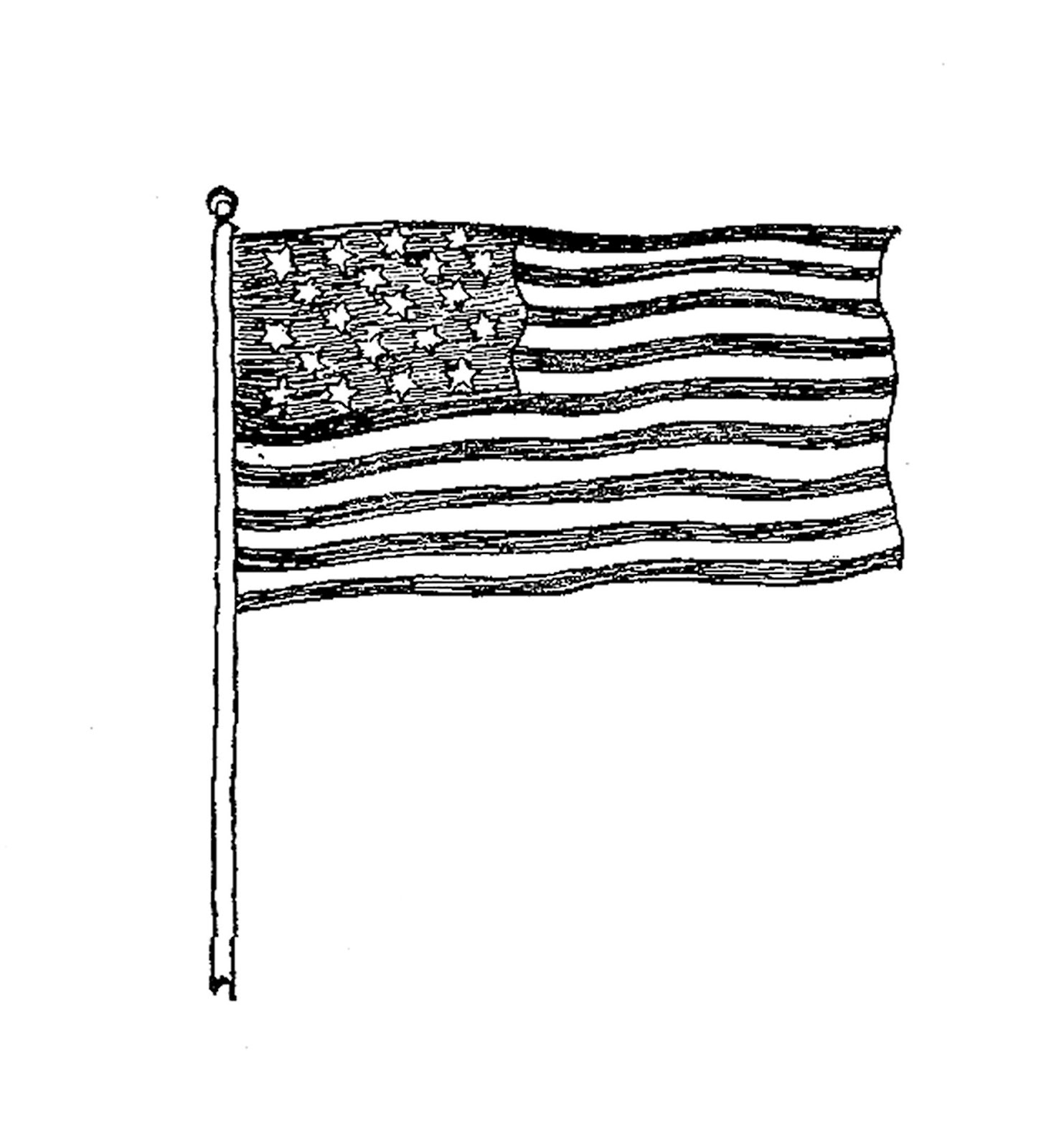 25 Jun 2008   Vintage American Flag Clip Art Black And White