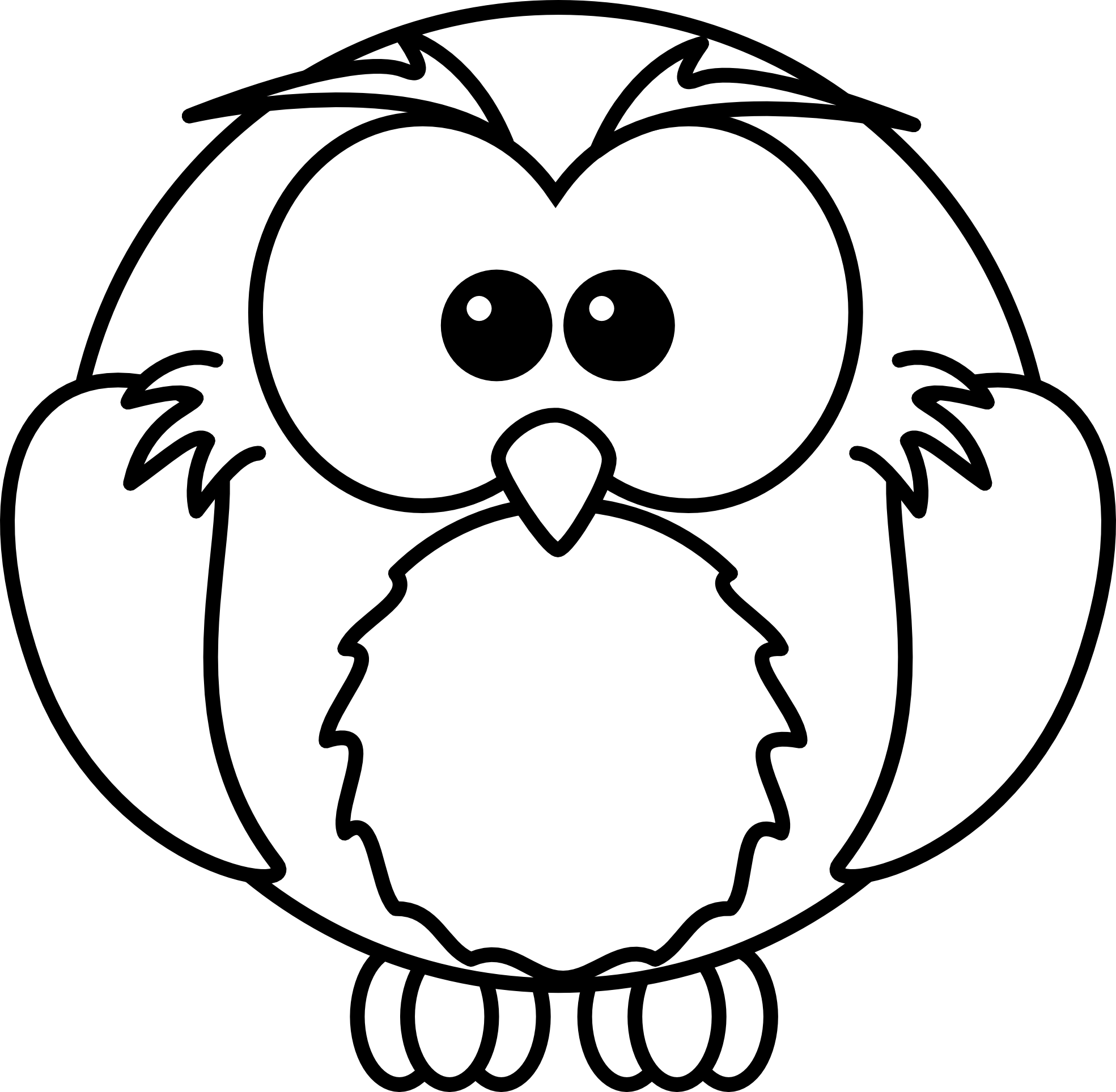 Cute Owl Black And White Clipart - Clipart Kid