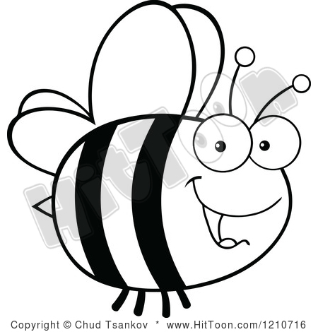 Bee Clipart Black And White 1210716 Cartoon Of A Black And White Happy