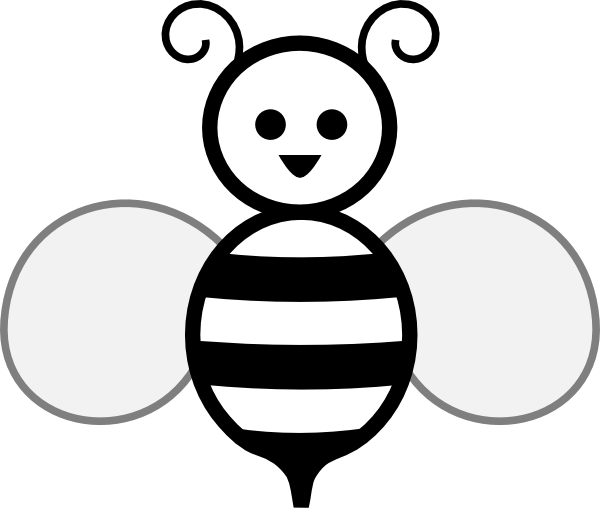 Bee Clipart Black And White Black And White Bee Hi Png
