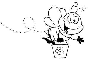 Bee Clipart Image   Black And White Smiling Bumble Bee Carrying A Pail