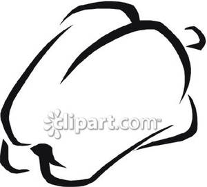 Black And White Bell Pepper   Royalty Free Clipart Picture