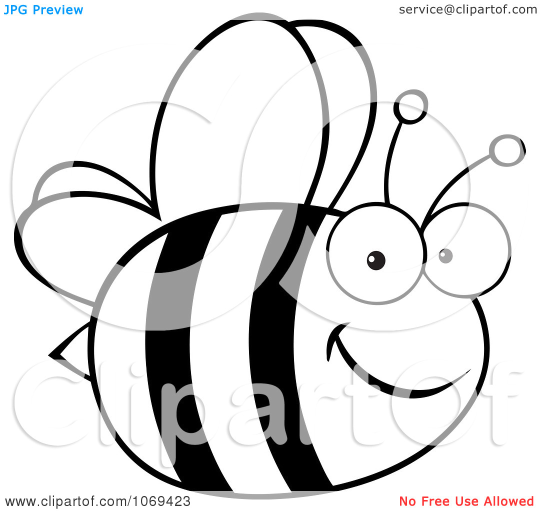 Clipart Black And White Bee   Royalty Free Vector Illustration By Hit