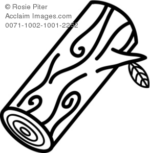 Clipart Illustration Depicts A Black And White Clip Art Of A Cut Log