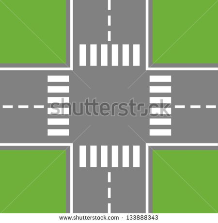 Crossing Roads  Road Intersection With Pedestrian Crossings    Stock