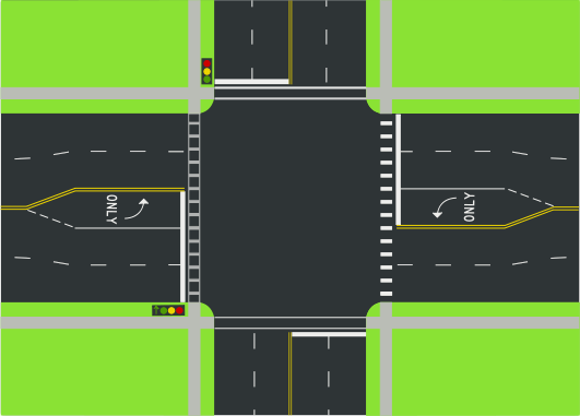 Diagram Of An Example Intersection Of Two Way Streets As Seen From