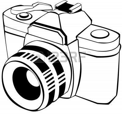 digital camera black and white clip art