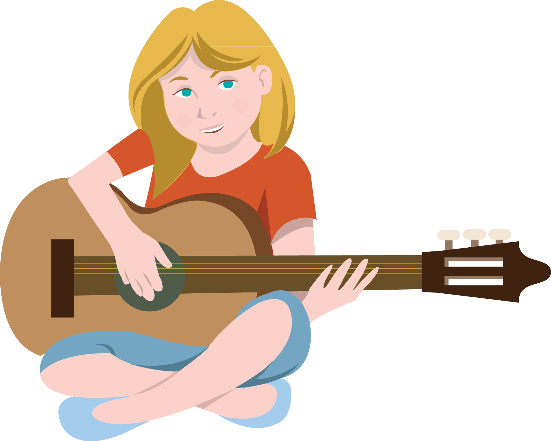 Girl Playing Guitar Clipart - Clipart Kid