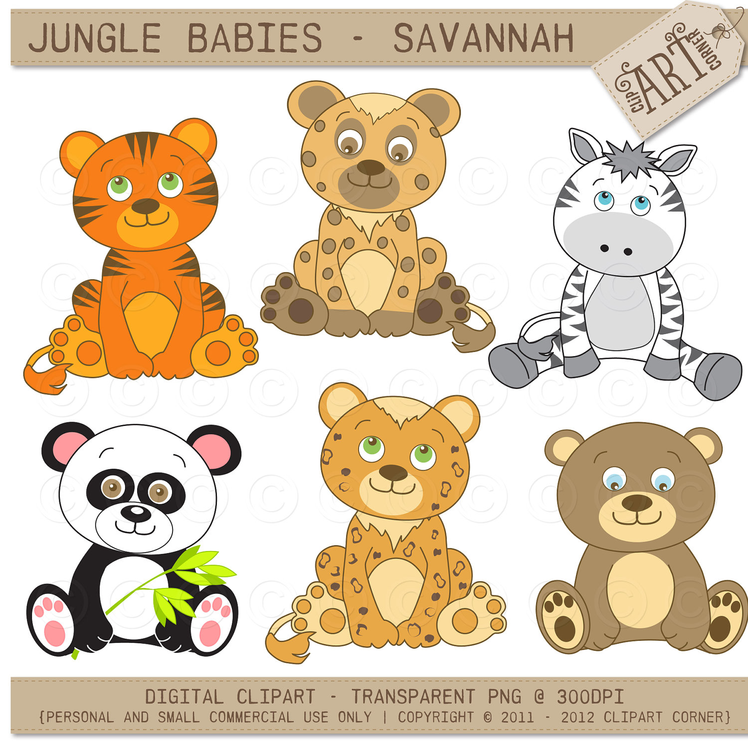 Baby Safari Animals Clipart - Clipart Kid
