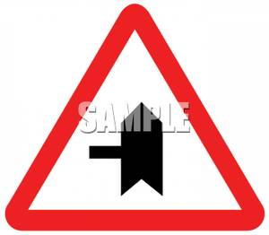 Minor Cross Street Intersection Road Sign Royalty Free Clipart