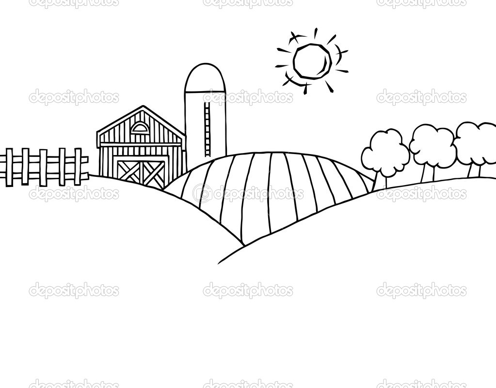 Outline Of Rolling Hills A Farm And Silo On Farm Land   Stock Image