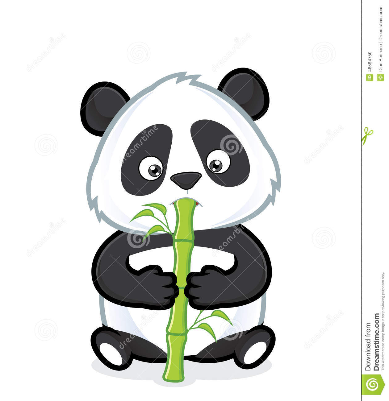 Panda Eating Bamboo Clipart Picture Cartoon Character 48564750 Jpg
