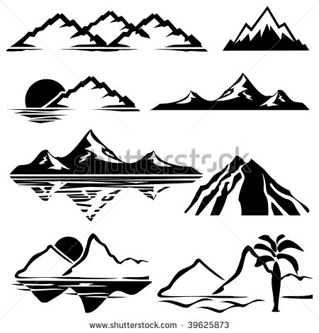Set Of Vector Icons Of Silhouettes Of The Mountains   Stock Vector