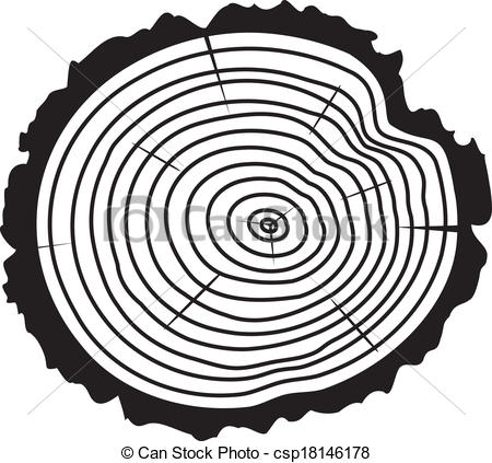 Vector Black And White Wooden Cut Of A Tree Log With Concentric Rings