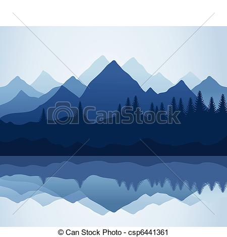 Vector Clip Art Of Mountain   Kind On Mountains And Lake A Vector