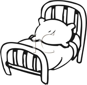 White 0511 1008 0319 2532 Black And White Cartoon Bed Clipart Image
