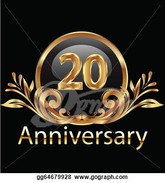 20 Years Anniversary Birthday In Gold   Clipart Drawing Gg64679928